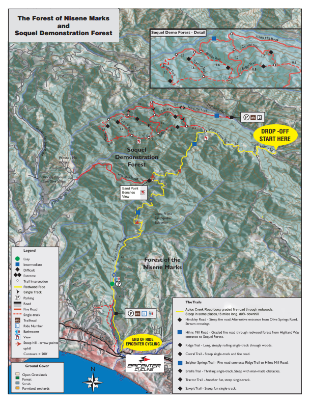 Santa Cruz Mountain Fire Map.The Forest Of Nisene Marks And Soquel Demonstration Forest Goin