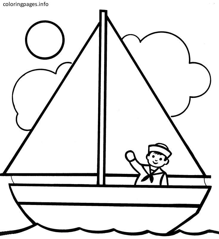 Elegant Boat Coloring Page
