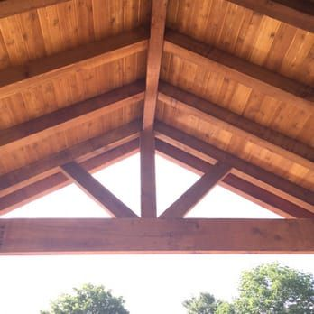 Gable Roof Cover Built With All Rough Cedar Beams Rafters
