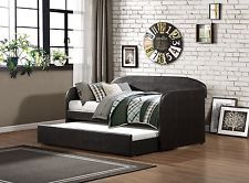 Daybed with Trundle/Pull Out Bed, Dark Brown Bi-Cast Vinyl