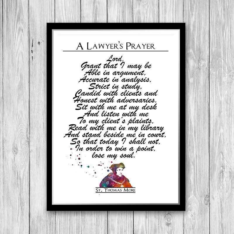 Lawyers Prayer St Thomas More Art Print Attorney Office Decor Etsy Wall Art Quotes Art Prints Print