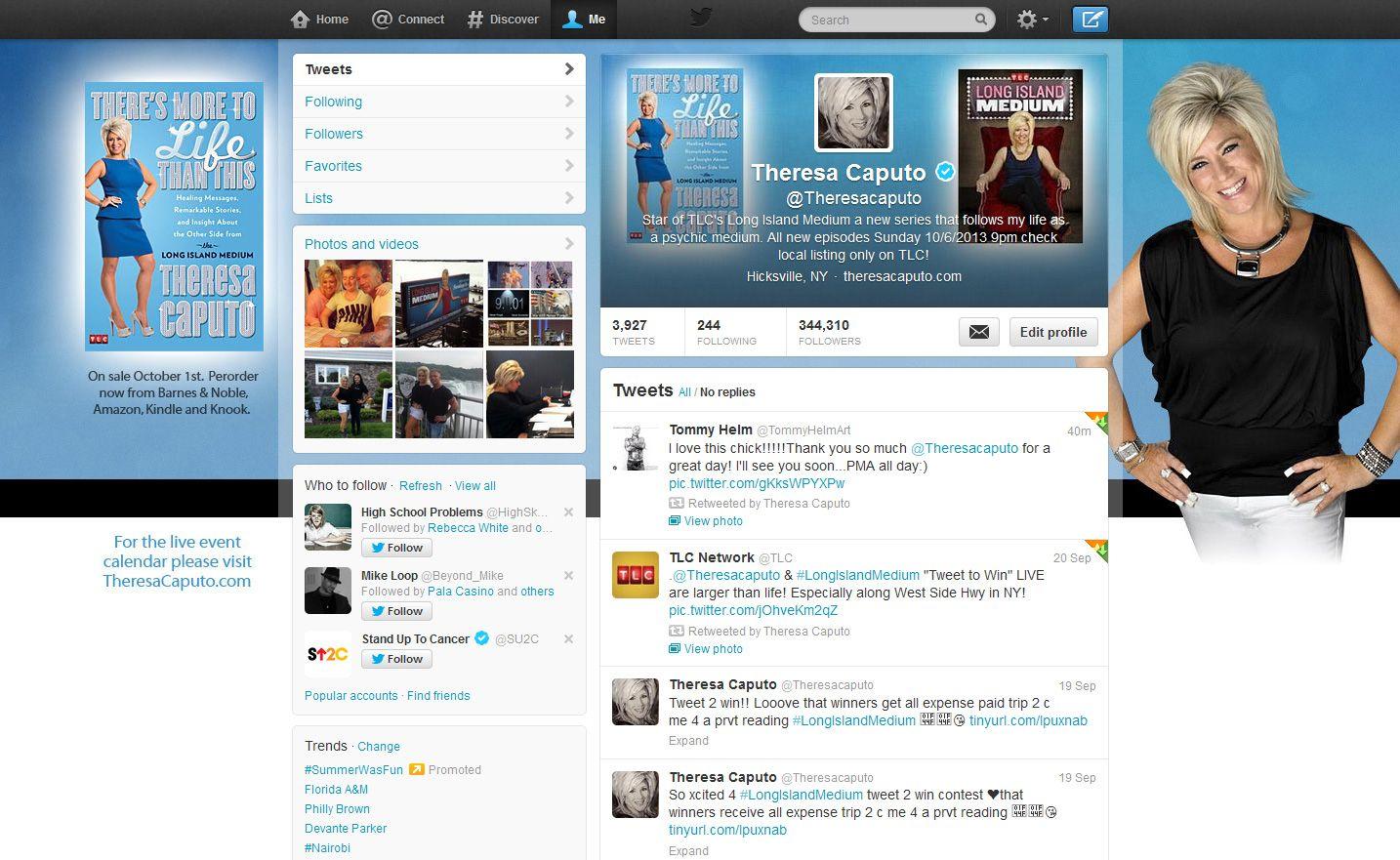 Twitter design for Theresa Caputo, the Long Island Medium.