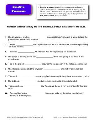 Worksheet Relative Pronouns Read Each Sentence Carefully And