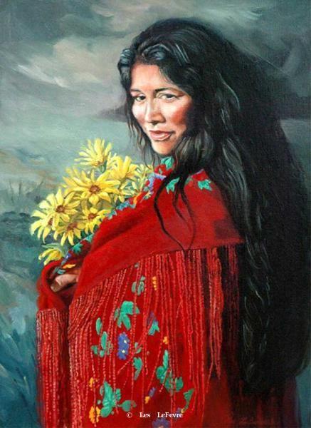 """The Flower Gatherer"" - Oil on Linen -Outstanding Indian Art Oil Painting by LesLefevre kp"
