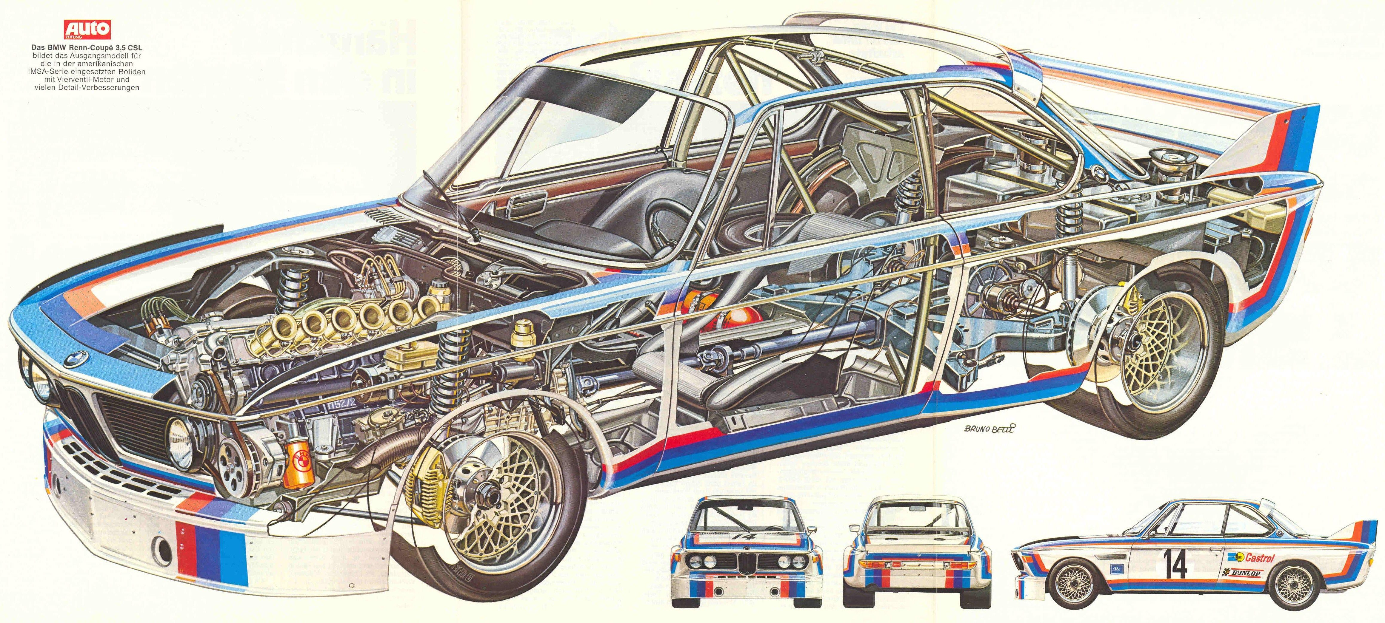 1975 (?) BMW 3.5CSL - Illustrated by Bruno Betti ...