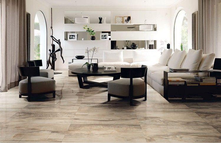 Elegantes Wohnzimmer Mit Steinoptik Fliesen