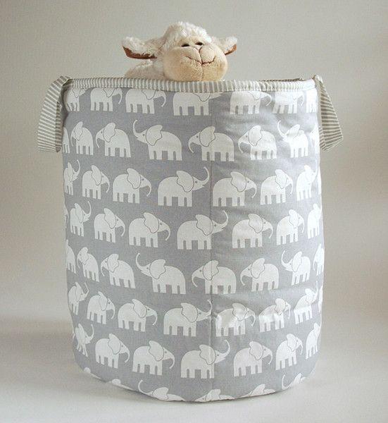Aufbewahrungsboxen - Aufbewahrungskorb Kinderzimmer Elefanten grau ...
