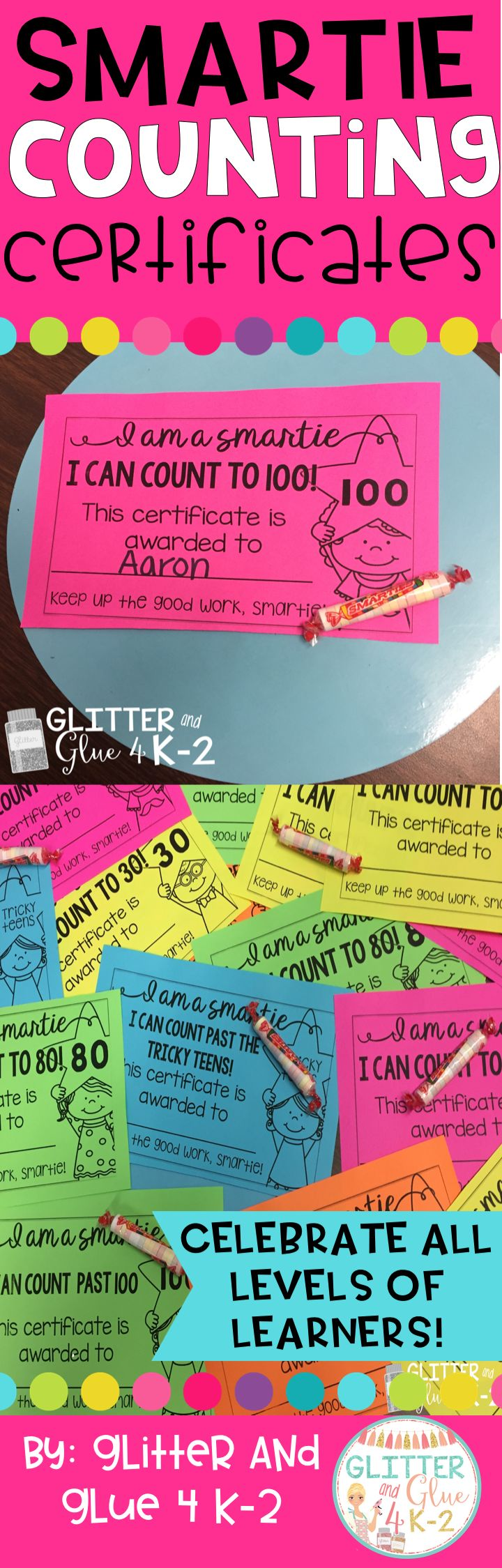 Motivate your little ones to reach oral counting goals with these certificates! These certificates are black and white so you can save ink! I printed mine on Astrobrights paper but any colored paper will work! When you give these out to your students be s