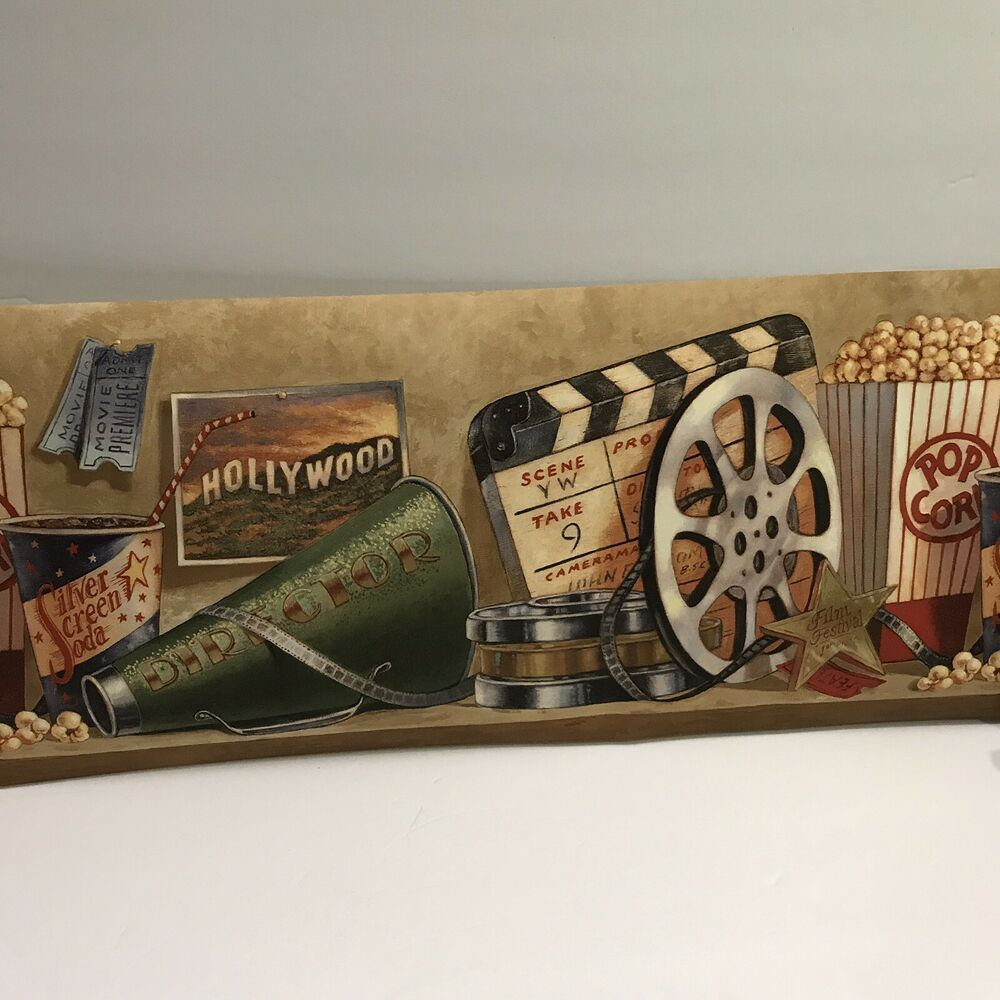 Wall Paper Border Hollywood Movies Home Theater Popcorn 10 In X 5 Yards Ebay Wall Vinyl Decor Decal Wall Art Sticker Decor