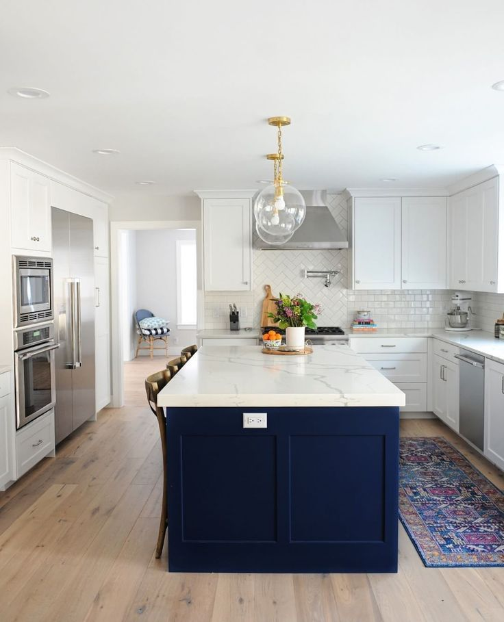 16 Nicely Painted Kitchen Cabinets: @pink_peppermint_design's Blue Island Really Steals The