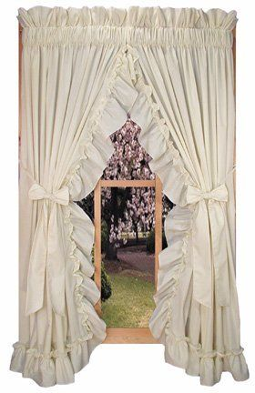 Stephanie Country Ruffle Priscilla Curtains Pair 86-Inch-by-84-Inch - 3 Inch Rod Pocket, Natural by Window Toppers. $32.50. easy care 70% polyester / 30% cotton fabric. choice of 1 1/2 inch or 3 inch rod pocket. elegant ruffled appearance, includes matching Bow tie backs. choice of colors and sizes. Made in the USA !. Our Stephanie country ruffle priscilla window curtains can be ordered in 45, 54, 63, 72 & 84 inch lengths. Choice of 8 solid color fabrics - white, natur...