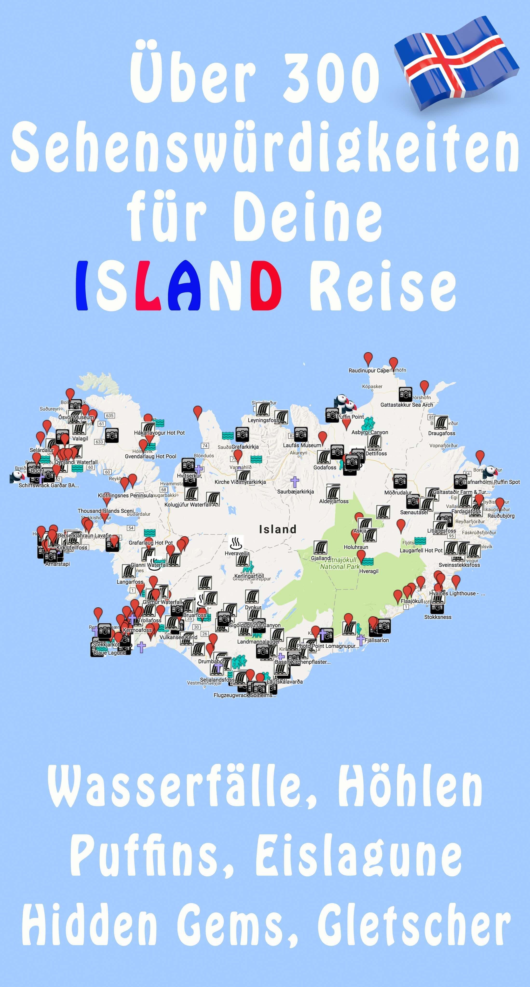Island Karte 350 Sehenswurdigkeiten Mit Gps Koordinaten Island Reise Gps Koordinaten Island Urlaub