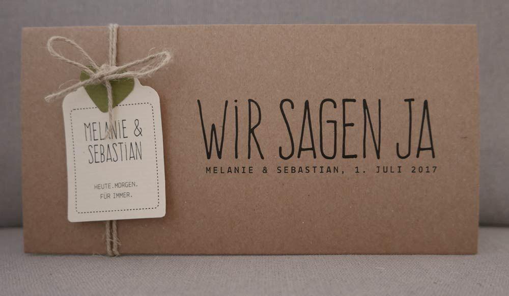 Hochzeitskarte Kraftpapier HEAVN Schrift VINTAGE2