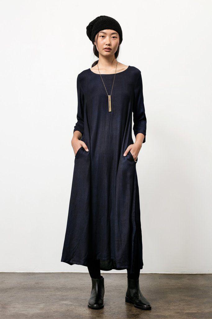9f68c2ac49d Nima Dress in Natural Hand-dyed Indigo