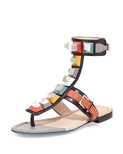 5aae6b75c X2VH0 Fendi Multicolor Studded Ankle-Wrap Sandal