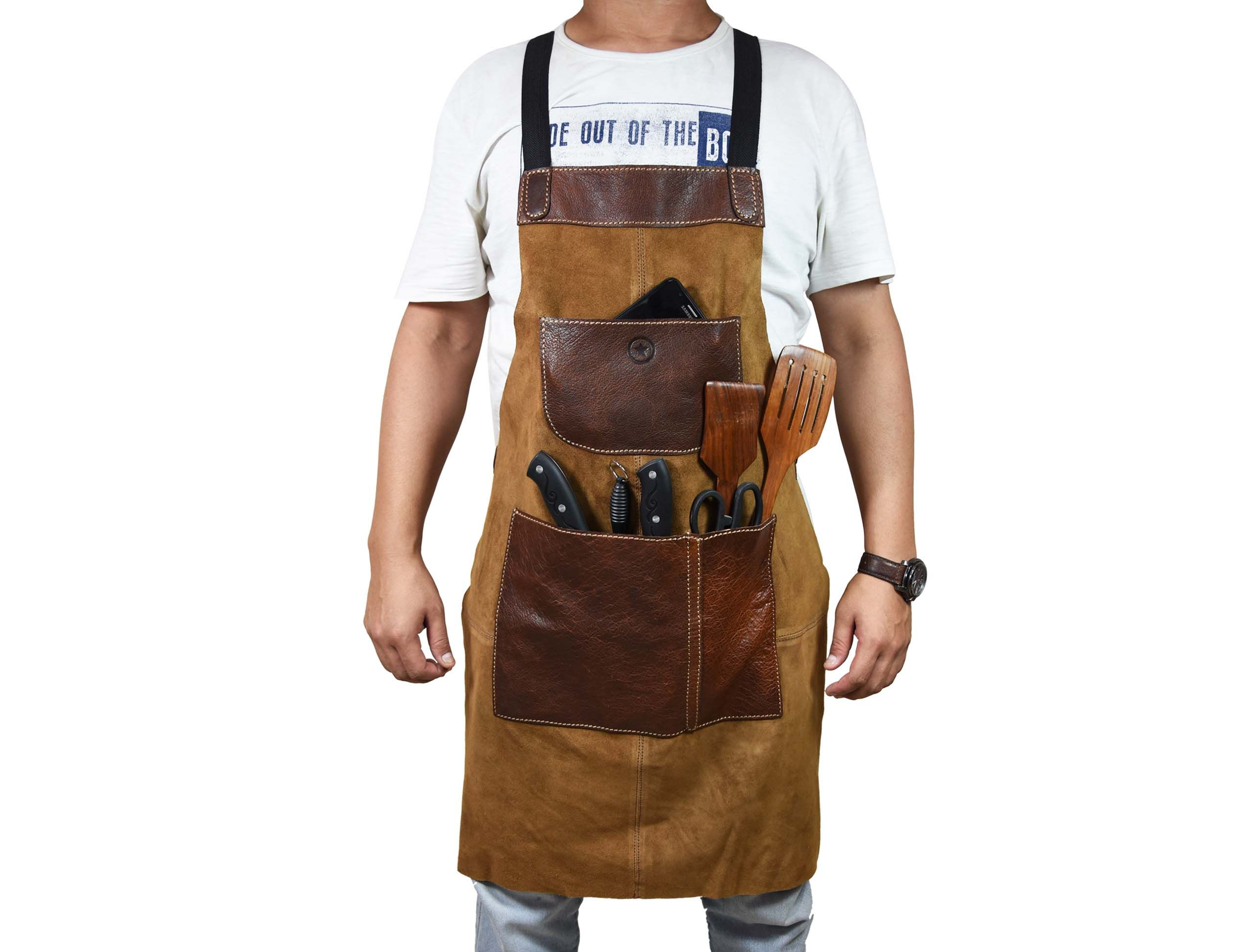 Florence Suede Apron Light Brown