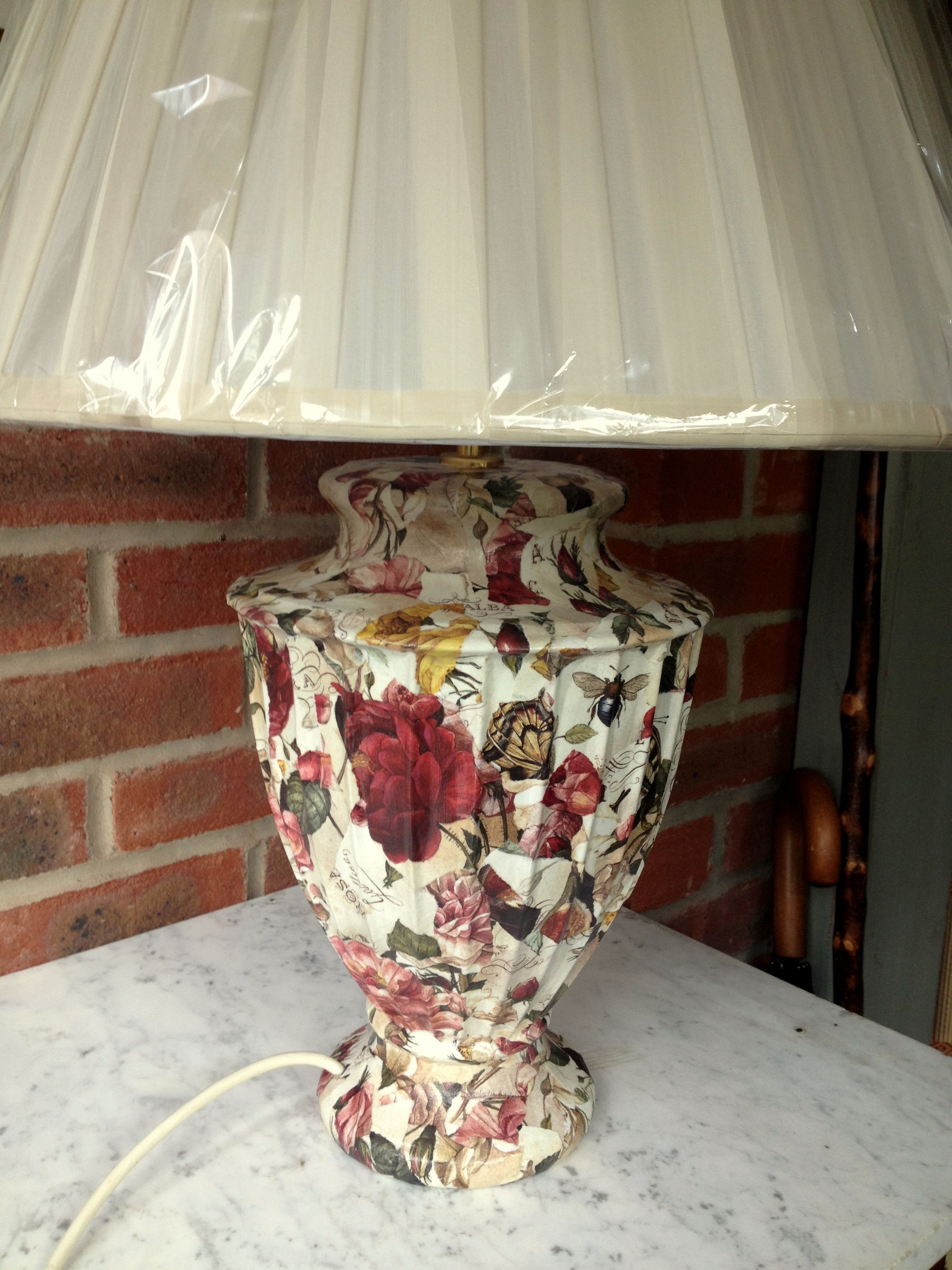 Botanical Decoupage Lamp Base