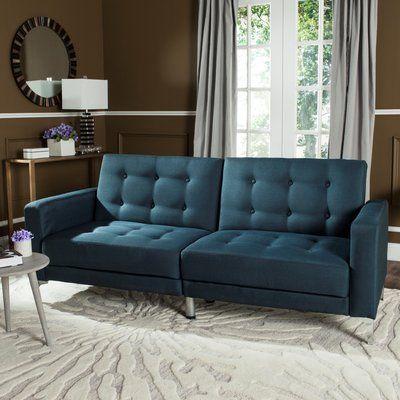 Wade Logan Demetra Foldable Sleeper Sofa Upholstery: Navy