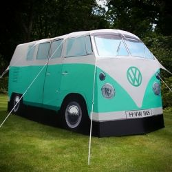 So, if I would HAVE to go camping, this might be an option. Amazing 4 person tent modeled after the iconic 1960s Volkswagen Bus.
