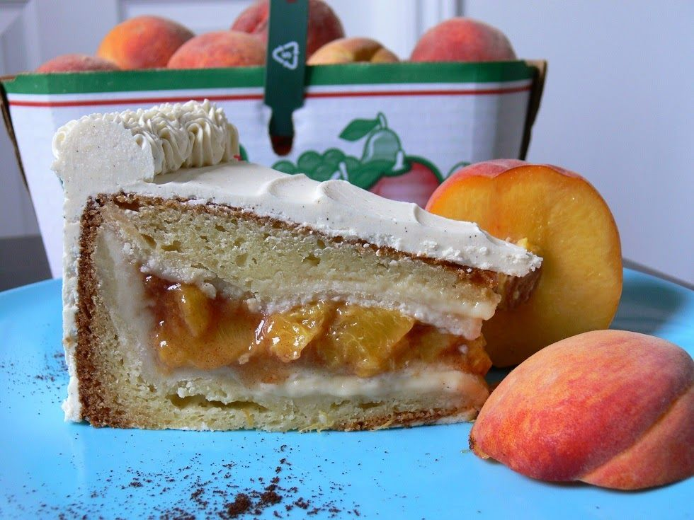 A Fresh Peach Pie inside a Vanilla Cake with Vanilla Bean Icing      This Vanilla Bean & Peach PIECAKEN sold out at a local restaurant withi...