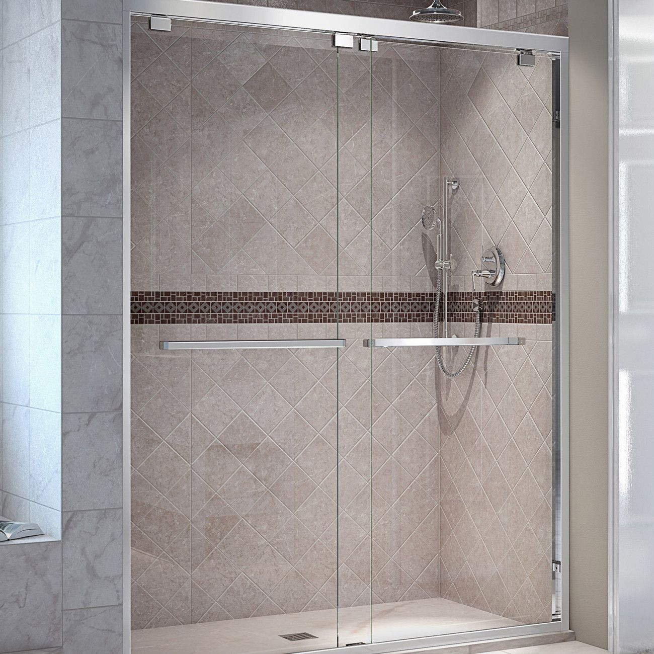 The DreamLine® Encore bypass sliding shower or tub door has a modern ...