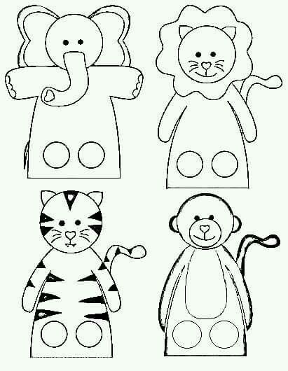 Printable Finger Puppet Templates Sketch Coloring Page