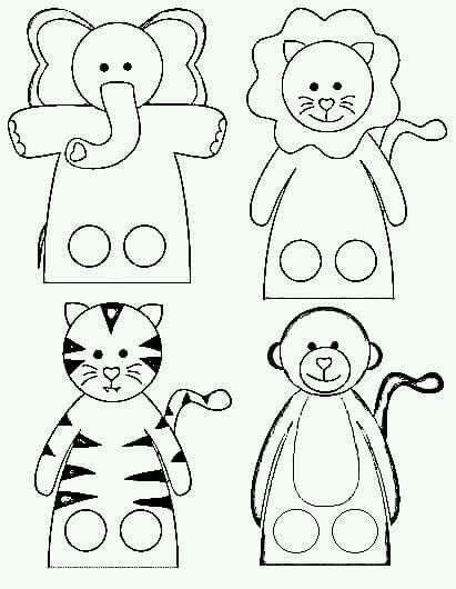 Okul ncesi s per parmak kukla kal plar boyama for Paper finger puppets templates