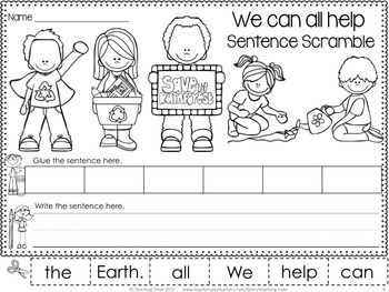 free earth day sentence scramble we can all help the earth literacy centers pinterest. Black Bedroom Furniture Sets. Home Design Ideas