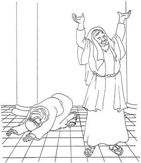 The Pharisee And The Tax Collector Coloring Page Sunday School