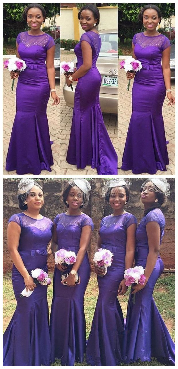 cc294b1d9240 New Purple African Aso-Ebi Satin Mermaid Long Bridesmaid Dresses Sheer  Short Sleeves Beaded Party Floor Length Party Evening Dresses