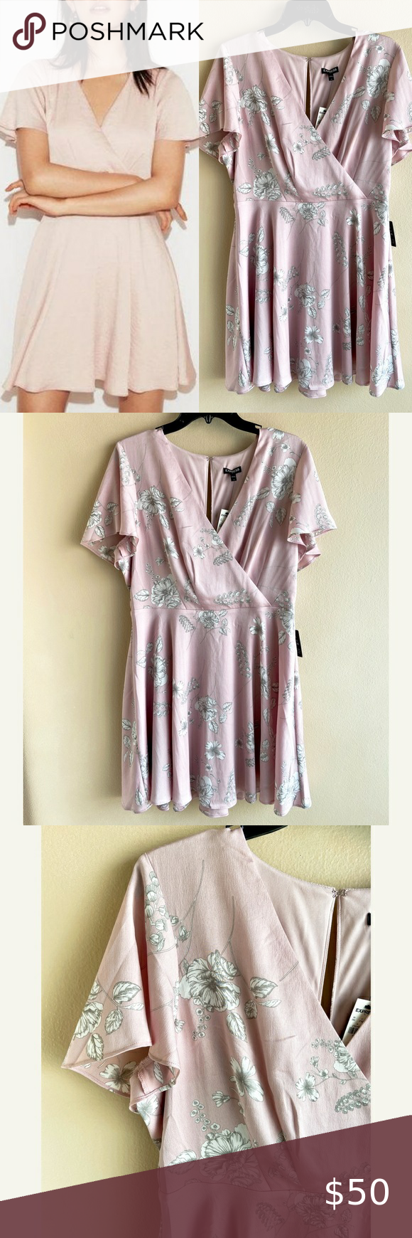 •NWT• [Express] Pink Satin Floral Mini Dress