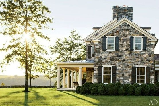 Old Stone Home With White Trim And Black Shutters Love This House By Muriel My Dream Home House Styles Beautiful Homes