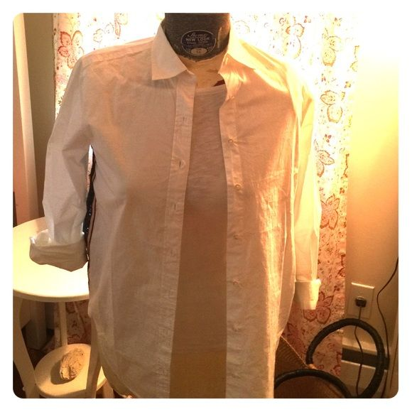JCrew white blouse with beaded edging. Model is not a size too, see photo for edging. J. Crew Tops Blouses