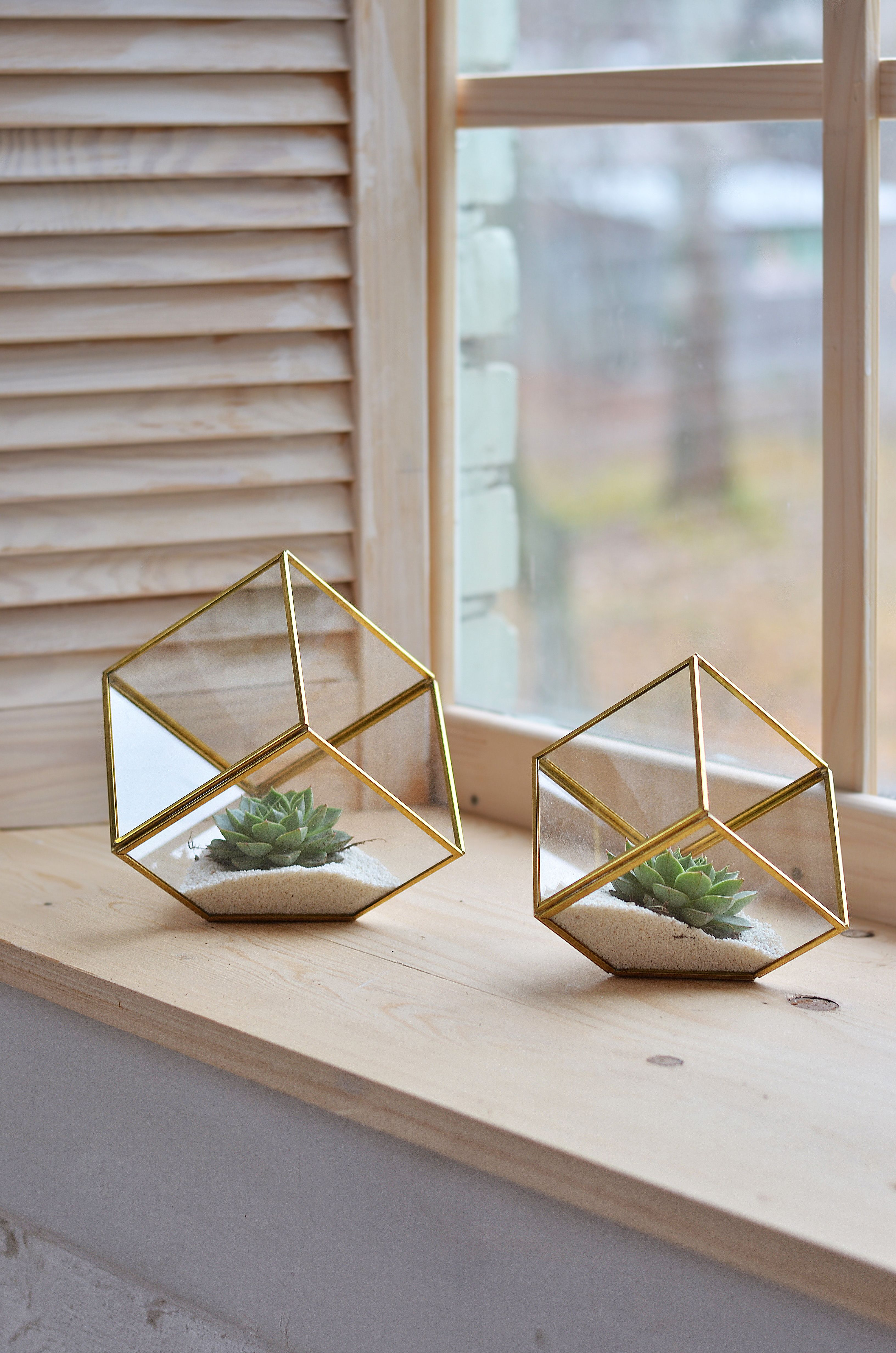 Glass terrariums ring boxes and candle by StudioTh