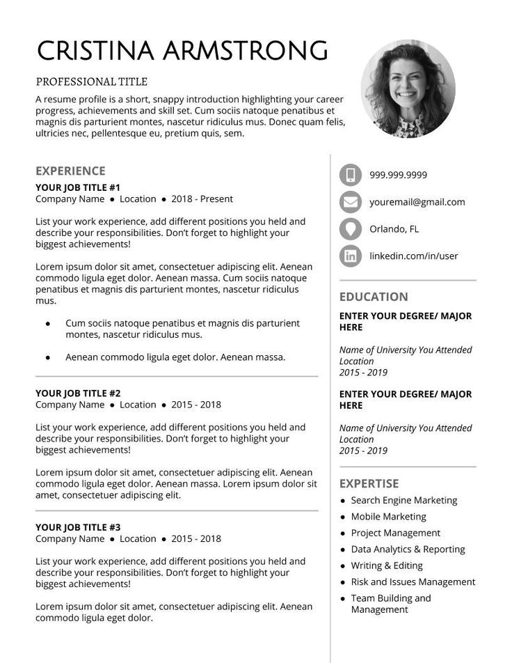 Download free resume template. Resume template
