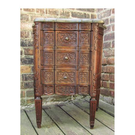 Best Antique Marble Topped Carved Three Drawer Nightstand 400 x 300