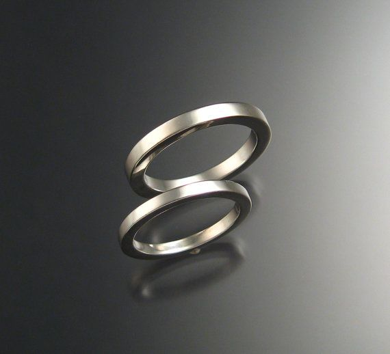 I Kinda Like The Thinner Ones Heavy Sterling Silver Square Wedding Bands His And Hers Any Size Silver Dangle Necklaces Silver Rings
