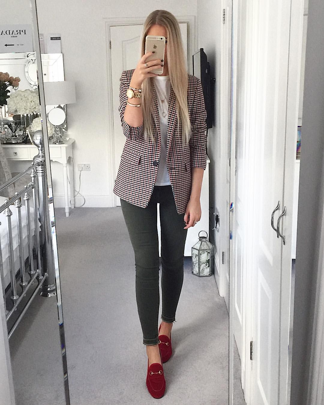 ad32aee1c Instagram @emilyjanehardy Sandro checked jacket, current Elliott green  jeans, white tshirt, red velvet Gucci Jordaan loafers