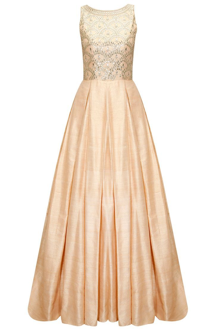 Peach gota patti embroidered gown available only at Pernia\'s Pop-Up ...