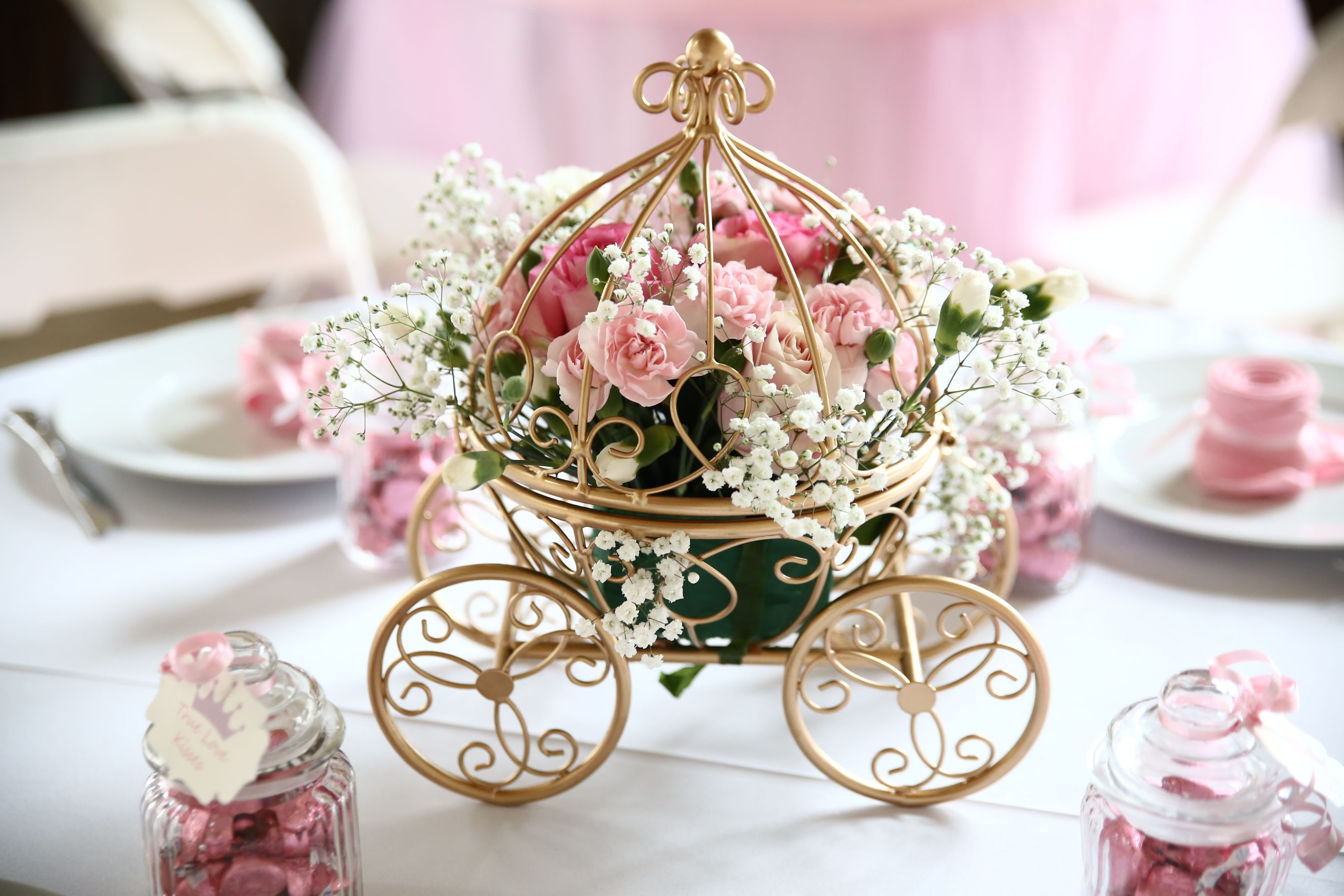 Princess Baby Shower Carriage Centerpieces