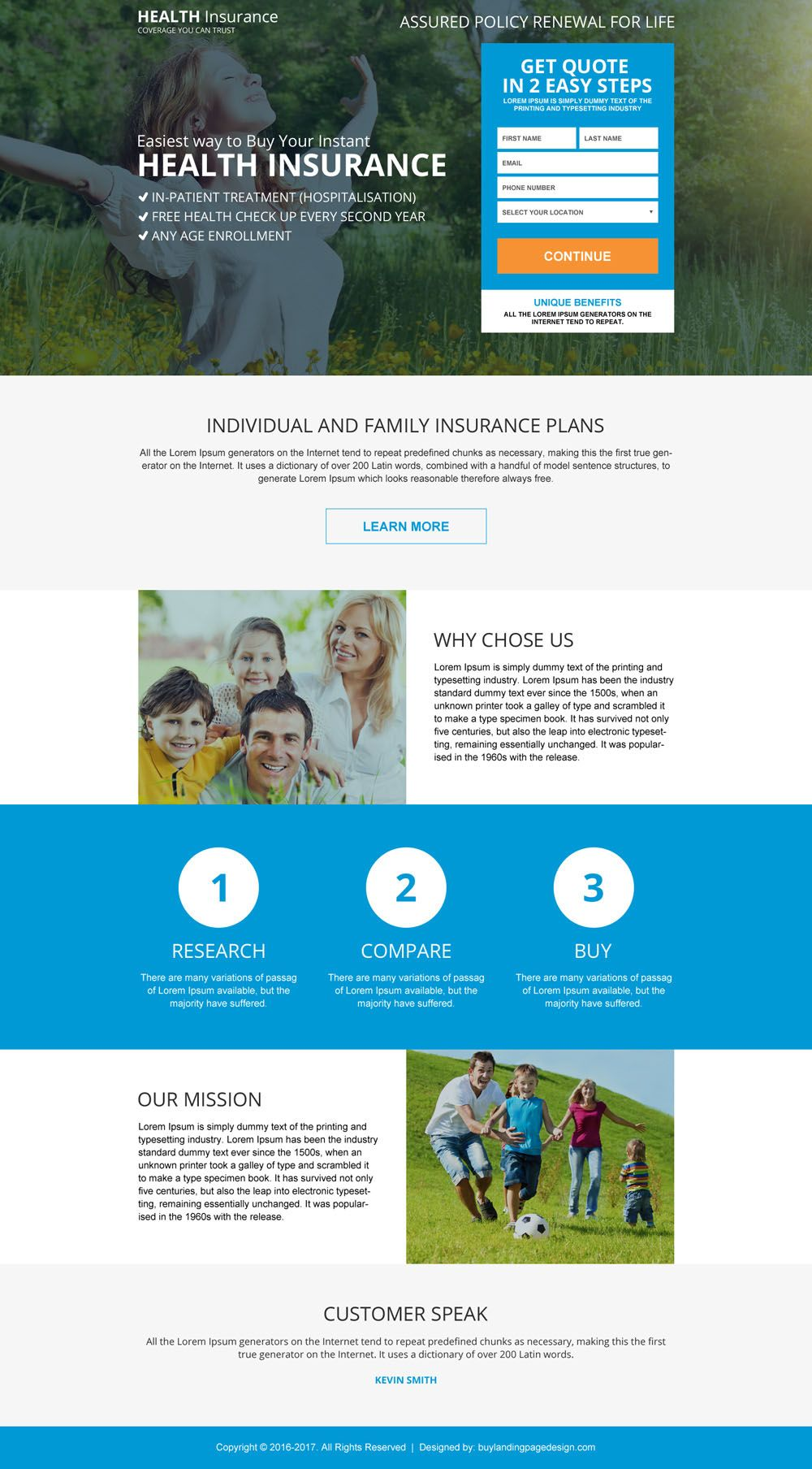 Health Insurance Coverage Benefit For Full Family Landing Page
