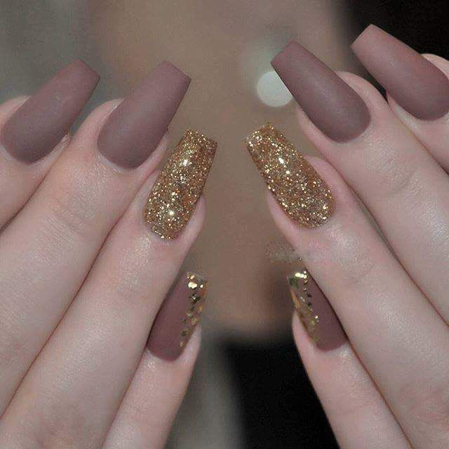 Sparkle Matte Nail Art for Long Nails in Gold and Brown - 50 Stunning And Eye Catching Matte Nail Art Design Ideas For This