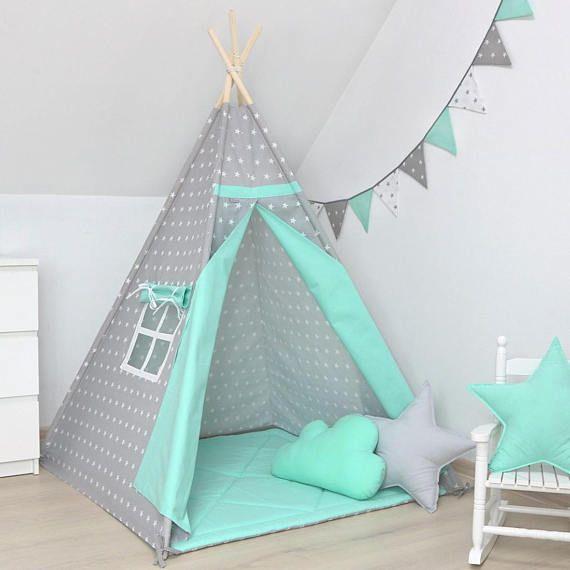 Teepee, Kids Tipi, Indian Tee pee, Childrens Teepee, Playtent, Tipi, Teepee tent, Tipi tente pour les enfants, wigwam, Stars in Grey/ Mint
