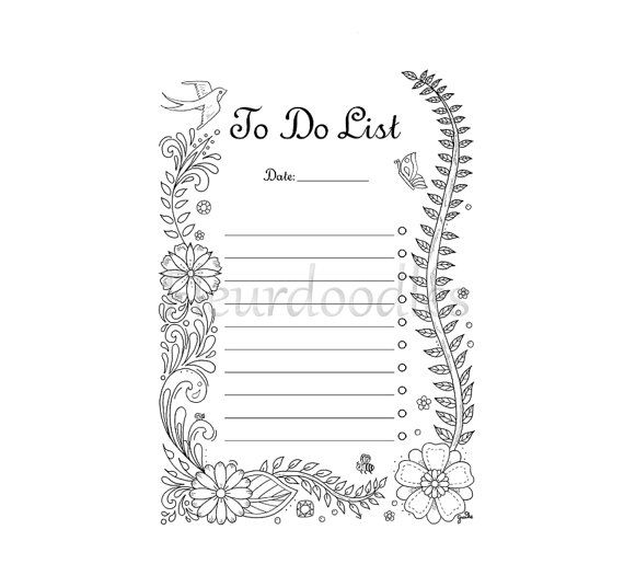 coloring page - To Do List- printable planner inserts, filofax ...