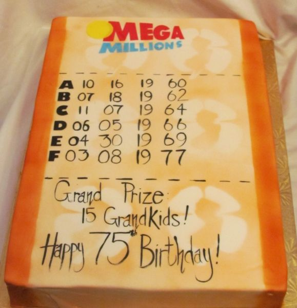 NJ Lottery Mega Millions Birthday Cake Cake craft