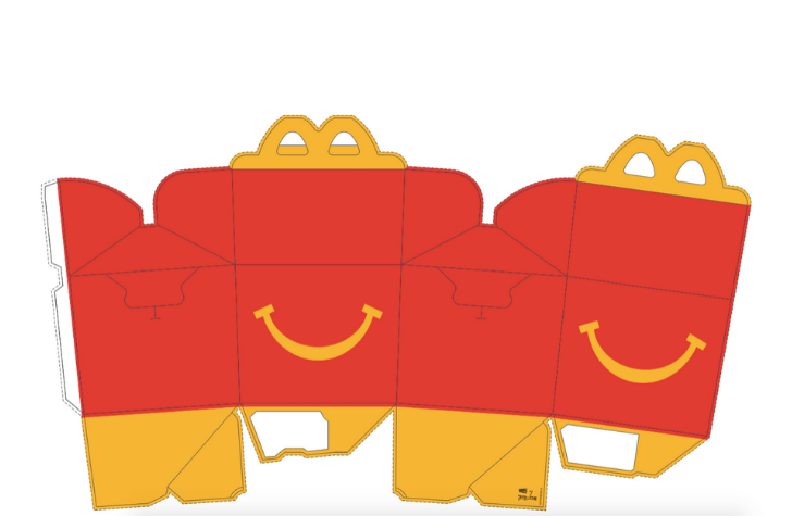 Mcdonald S Releases The Happy Meal Box Template So You Can Make Your Own At Home Forkly Happy Meal Box Paper Toys Template Happy Meal Mcdonalds