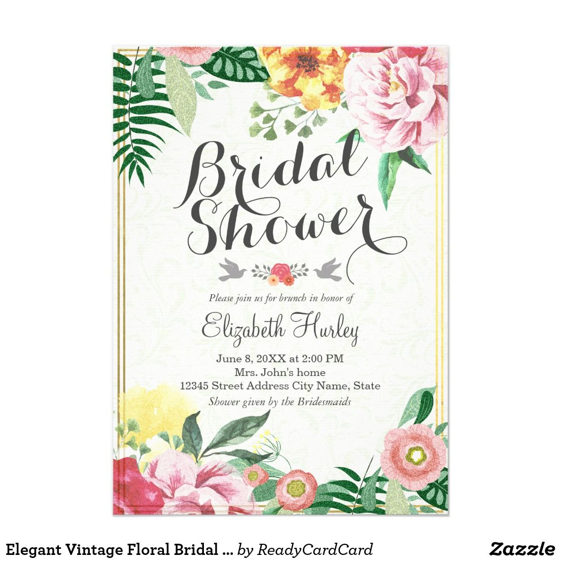 Elegant vintage floral bridal shower invitations wedding elegant vintage floral bridal shower invitations elegant vintage wedding bridal shower floral formal invitation card a perfect design for your big day stopboris Image collections