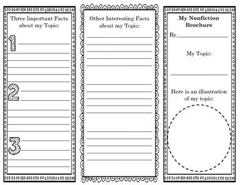 Nonfiction Brochure Reading Response  Graphic Organizer