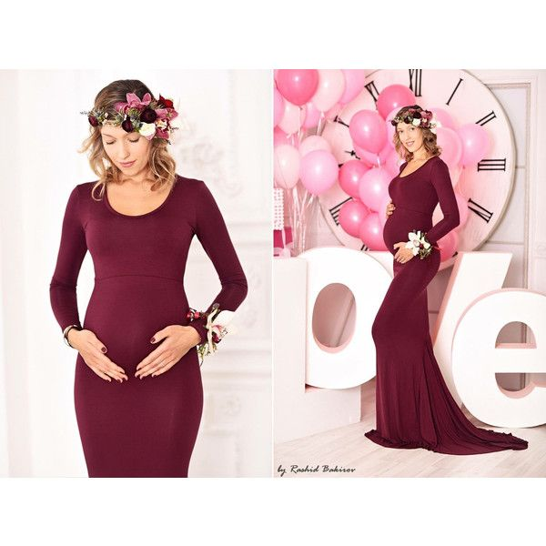 Maternity Dress Slim Fit Photo Shoot Burgundy Long Sleeves Off Shoulder Slim Fit Jersey  Maternity Gown with Train Baby Shower Dress