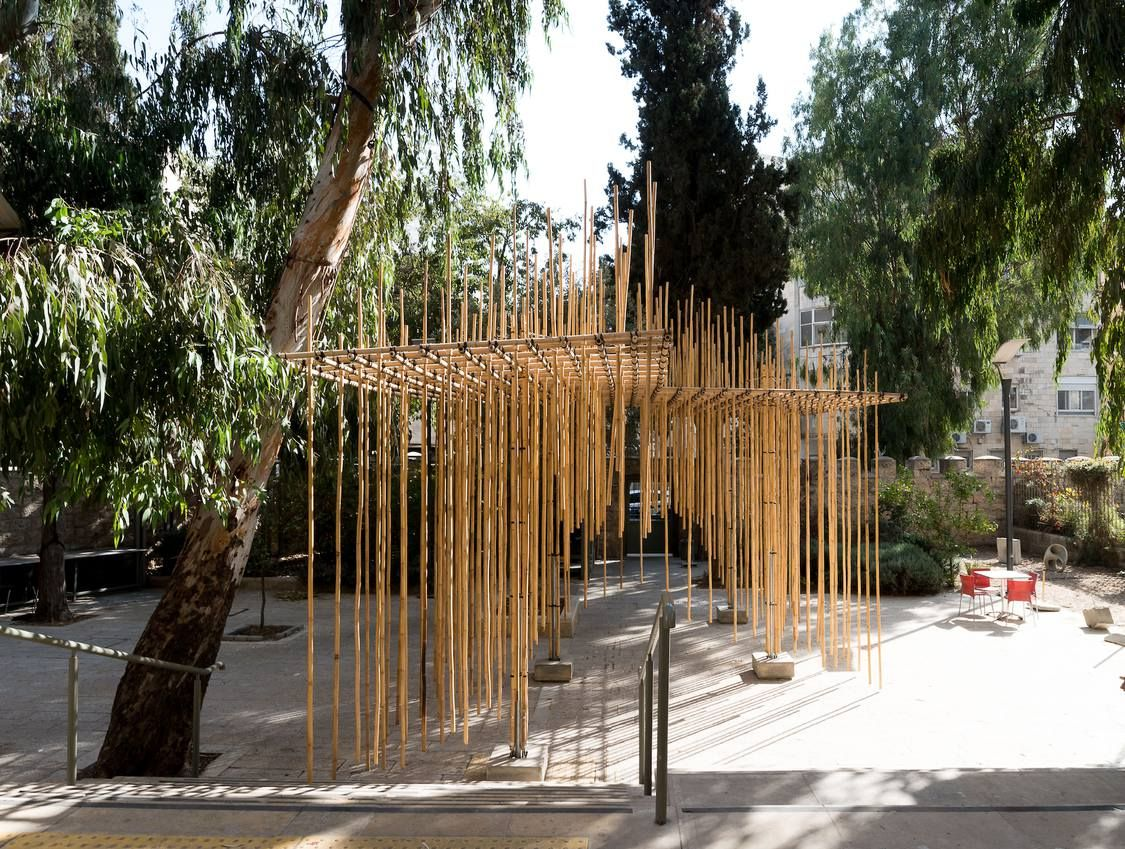 This bamboo pavilion was set up in Jerusalem by students